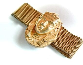 Signed MIRIAM HASKELL Mesh Wrap King Tut Pharaoh Egyptian Wrap Bracelet Slide Designer Vintage Jewelry,