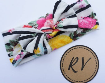 Black Stripe Floral Knotted Baby Headband
