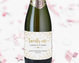 Champagne Label Twenty One Birthday Label