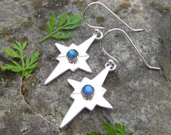 North star earrings | Polaris earrings | Sterling silver star earrings | compass rose earrings | Labradorite Earrings | Stargazer ear