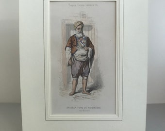 Antique print in window mount ready to frame. Beautifully drawn and hand coloured print. Artisan Turc de Nicomédie. Turkish costume.