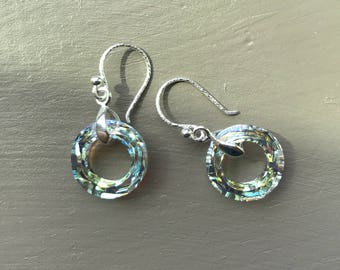 Swarovski circular drop earrings sterling silver