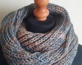 Infinity scarf, gray scarf, winter scarf, handmade scarf, neck warmer, knit cowl