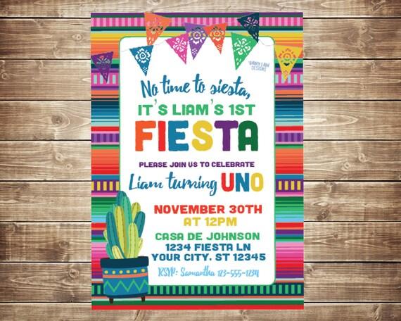 First Fiesta Invitations First Birthday Fiesta Invite