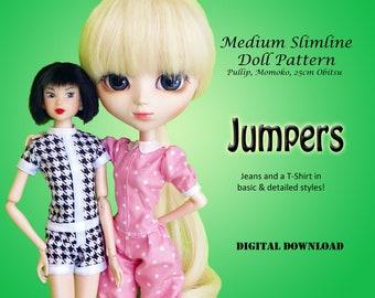 Jumper doll clothes pattern for Medium Slimline: pullip, momoko, 25cm Obitsu