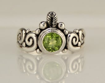 Silver Peridot Ring/ Scroll Ring/ August Birthstone/ Green Gemstone/ One of a Kind/ Handmade Ring/ Bezel Set/ Faceted Peridot/ Swirls