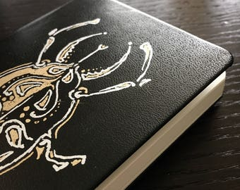 Small Hardcover Notebook, Gold Bug Insect, Plain Sketchbook