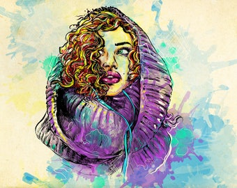 portrait, digital art, watercolor,drawing, print