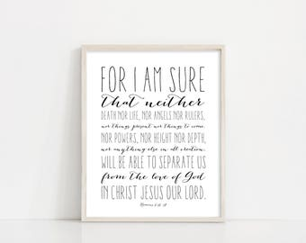"Romans 8:38-39 Svg - Nothing Can Separate - Bible Verse Wall Art - 8x10"" Digital Print - Black and White Printable Art - INSTANT DOWNLOAD"
