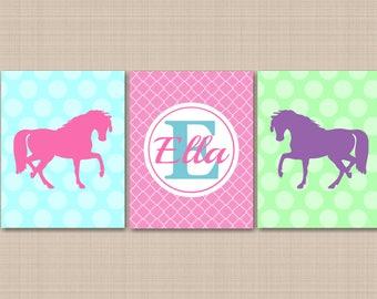 Horse Wall Art Pink Purple Blue Teal Green Horse Wall Decor Horse Girl Room Pony Wall Art Horse Monogram Pink Pony Art-UNFRAMED  3 C189