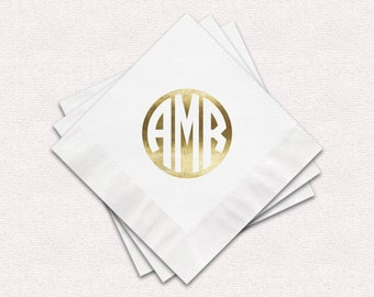 Monogram Napkins, White Cocktail Napkins Or White Luncheon Napkins, Personalized Foil Imprint Monograms Of Your Choice, Options Available