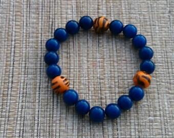 Men Auburn University Bracelet, War Eagle Bracelet, College Bracelet, Auburn Bracelet, Beaded Bracelet