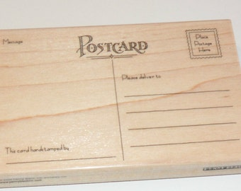 Post Card 1369L Rubber Stamp Wood Mounted by Penny Black Free Ship NEW 5 1/2""