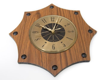 Vintage Westclox Clock, Westclox no cord clock, Made in Canada, Brass and wood clock