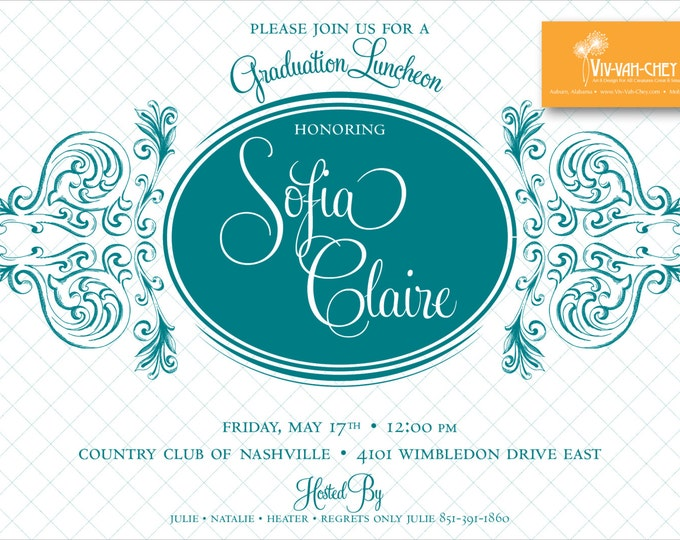 Sophisticated Teal Graduation Tea Invitation