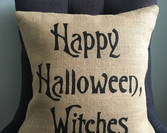 Halloween pillow cover Happy Halloween Witches burlap (hessian) pillow cover