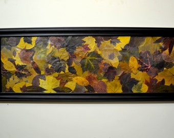 autumn home decor wall hanging pressed dried leaves modern rustic leaf art thanksgiving home and living decorations framed large 14 by 39