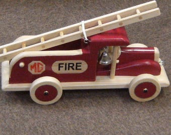 pull along toy, wooden, mg, fire engine,