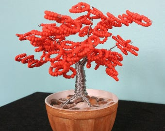 handcrafted metal wire bonsai sculpture, beaded bonsai metal sculpture, home decor bonsai sculpture, home decoration metal bonsai