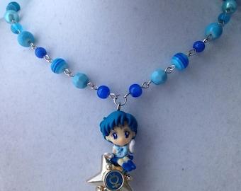 Sailor Mercury & Transformation Pen //Sailor Moon // Twinkle Dolly // Beaded Necklace