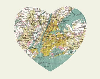 New York Art City Heart Map - 8x10 Art Print