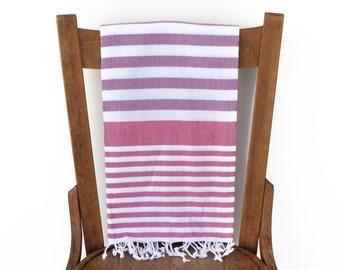 Turkish Towel Turkish Cotton Beach Towel Turkish Bath Towel Fouta Towel Sarong Pareo Throw Blanket Blue Handwoven PURPLE ROSE Pink PESHTEMAL