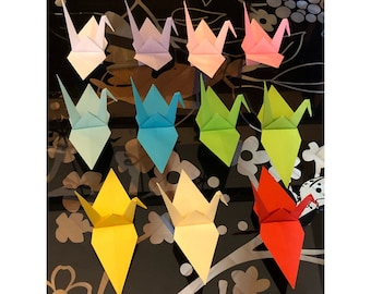 Large Cranes (50 pieces) with optional colour, Colourful Origami Cranes, Coloured paper-fold cranes for weddings, parties, Origami Birds