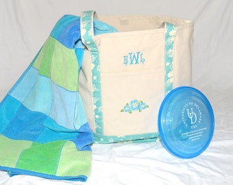 Large Sturdy Heavyweight Canvas Monogrammed Beach Tote Bag w Light Turquoise Trim w Hibiscus Flowers; Free Domestic Shipping