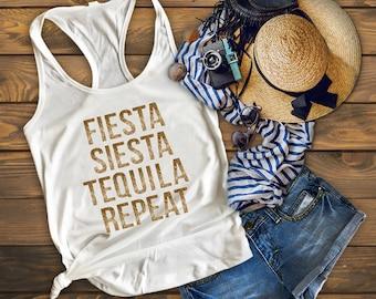 Fiesta Siesta Tequila Repeat, Drinking Shirt, Tequila Shirt, Fiesta Shirt, Cinco De Mayo Shirt, Mexican Food Shirt, Vacation Shirt,Margarita