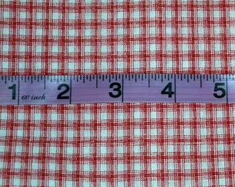 RED AND WHITE SMALL PLAID FABRIC - 1 YARD