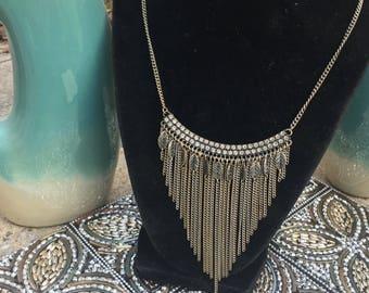 Antique silver chain bib necklace