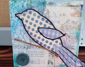 Blue Bird Mixed Media Collage, 4x4 Wood Block, One of a Kind, Wall Art, Happy Art