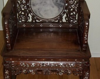 Antique Ming Style Carved Asian Oriental Chair Mother of Pearl Inlay Marble