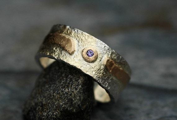 Sterling Silver and Yellow Gold Band with Purple Montana Yogo Gulch Sapphire-  Ready To Ship Size 9 Mixed Metal Ring