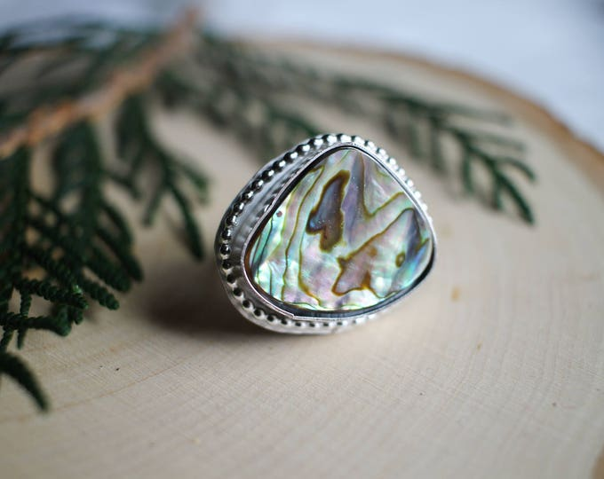 Paua Shell and Sterling Silver Ring, Ring size 7