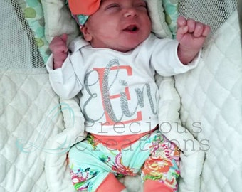 Baby Girl Clothes Newborn Baby Girl Outfit Personalized Outfit Photo Prop Coming Home Outfit Aqua Coral Floral Baby Shower Gift
