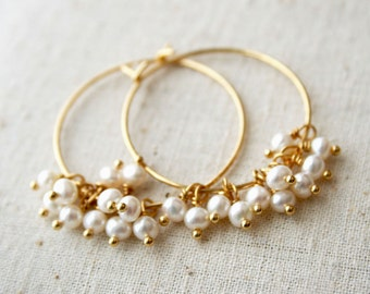 Pearl Hoop Earrings, June Birthstone, Pearl Earrings, Pearl, Bridesmaid Earrings, Pearl Jewelry