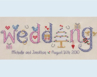 Wedding - Customisable Cross Stitch Chart - Digital Format PDF Pattern