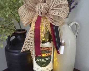 Wine Bottle Decor / Cordless Lamp / Recycled Bottle / Farmhouse Decor / Country Home Decor / Wine Lover Gift / Gift for Her / Gift for Mom