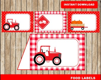 Tractor food labels; printable Red Tractor tent cards, Farm party food tent cards instant download