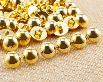 50 x bouton à coudre avec tige dôme doré Dia 12 mm