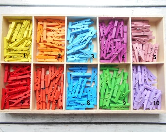 Mini clothespins in wood - set of 20 colors available - new
