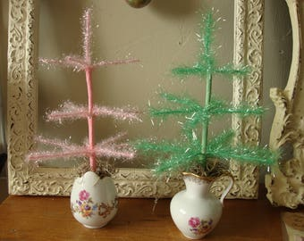 Spring tinsel tree tabletop pink and green Easter trees in mini vase Easter table decor kitchen centerpiece Shabby Chic decor