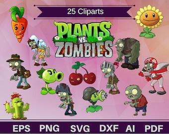 25 Plants vs Zombies clipart,plants clipart,zombies clipart, plants svg, plants vector,plants birthday,zombie print,plants printbale,PVZ svg