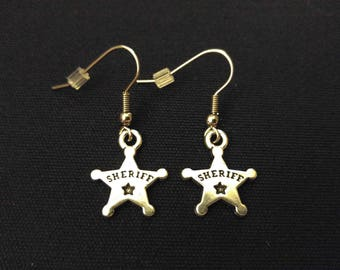 SHERIFF BADGE Charm Earrings Stainless Steel Ear Wire Silver Metal Unique Gift