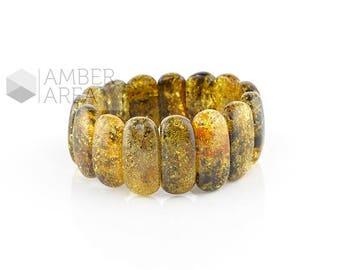 Light Green Amber Bracelet // 1526