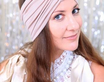 Turban Headband - Women's Hair Band Turbans - Light Nude - Boho Style Wide Headbands - 40 Colors