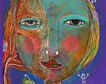 mixed media paper modern quirky folk art colorful abstract face