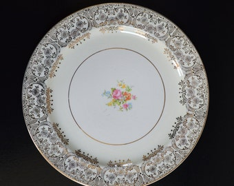 """The Paden City Pottery Co. - Dinner Plates floral center with 24K gold trim set of 6 (10"""")"""