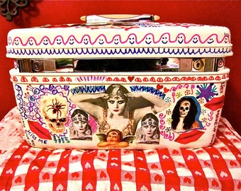 Vintage 60s  Collaged Decoupage  Make up Travel Case Theda Bara Altered  Art  Boho Vamp Eyes Lips Funky Jolie Laide Upcycled  OOAK by Katie